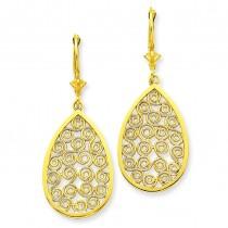 Teardrop Filigree Dangle Leverback Earrings in 14k Yellow Gold