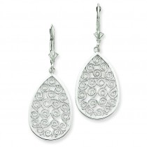 Teardrop Filigree Dangle Leverback Earrings in 14k White Gold
