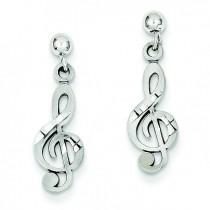 Treble Clef Dangle Earrings in 14k White Gold