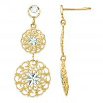 Rhodium Diamond Cut Filigree Medallion Drop Post Earrings in 14k Yellow Gold