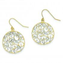 Rhodium Diamond Cut Filigree Circle Wire Earrings in 14k Yellow Gold