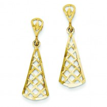 Diamond Cut Inverted Fan Dangle Post Earring in 14k Yellow Gold