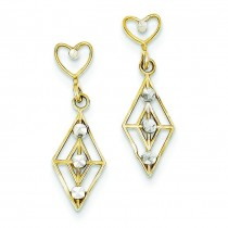 Rhodium Dangling Diamond Shape Heart Post Earrings in 14k Yellow Gold