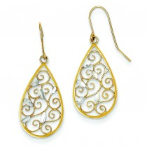 Rhodium Diamond Cut Filigree Teardrop Wire Earrings in 14k Yellow Gold