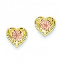 Pink Flower Heart Post Earrings in 14k Two-tone Gold