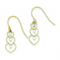 Rhodium Diamond Cut Heart Dangle Earrings in 14k Yellow Gold