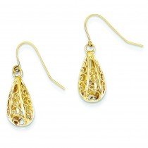 Diamond Cut Teardrop Dangle Wire Earrings in 14k Yellow Gold