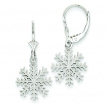 Snowflake Leverback Earrings in 14k White Gold