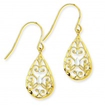 Rhodium Diamond Cut Teardrop Filigree Dangle Earrings in 14k Yellow Gold