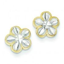 Rhodium Diamond Cut Flower Post Earrings in 14k Yellow Gold