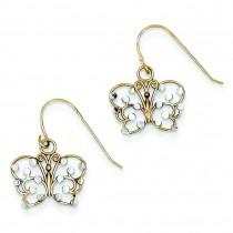 Rhodium Diamond Cut Dangling Butterfly Wire Earrings in 14k Yellow Gold