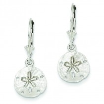 Sand Dollar Leverback Earrings in 14k White Gold