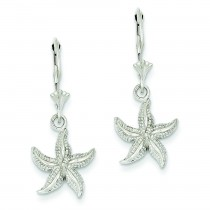 Starfish Leverback Earrings in 14k White Gold