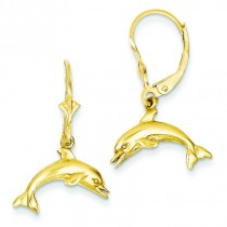 Jumping Dolphin Leverback Earrings in 14k Yellow Gold