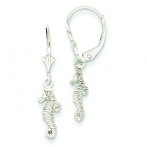 Mini Seahorse Leverback Earrings in 14k White Gold