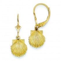 Scallop Shell Leverback Earrings in 14k Yellow Gold
