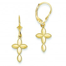 D C Cross With Beaded Edge Leverback Earrings in 14k Yellow Gold