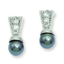 Rhodiumblack Glass Pearl CZ Earrings in Fashion