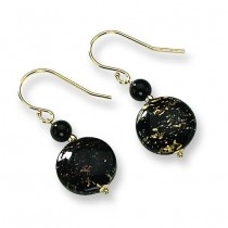Murano Glass Bead Onyx Wire Earrings in 14k Yellow Gold