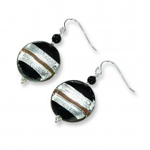 Murano Glass Bead Onyx Wire Earrings in Sterling Silver