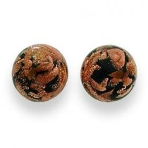 Black Copper Color Murano Glass Earrings in Sterling Silver
