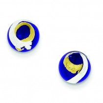 Blue Gold Silver Color Italian Murano Earrings in Sterling Silver