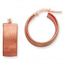 Rose Gold Satin Round Hoop Earrings in 14k Rose Gold