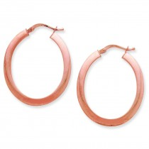 Rose Gold Flat Oval Hoop Earrings in 14k Rose Gold