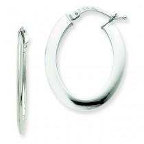 Flat Oval Hoop Earrings in 14k White Gold