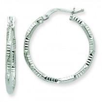 Patterned Twist Hoop Earrings in 14k White Gold