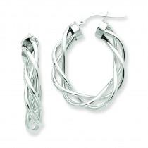 Twisted Hoop Earrings in 14k White Gold
