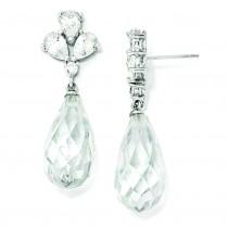 Teardrop Dangle CZ Post Earrings in Sterling Silver