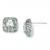 Asscher cut Square CZ Post Earrings in Sterling Silver