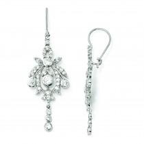CZ Chandelier French Wire Earrings in Sterling Silver