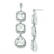 Rose cut CZ Dangle Post Earrings in Sterling Silver