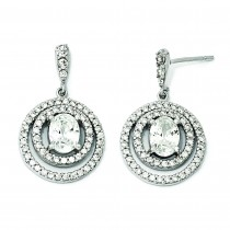 Circle CZ Dangle Post Earrings in Sterling Silver