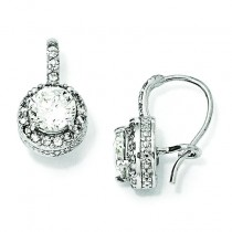 CZ French Wire Earrings in Sterling Silver