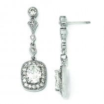 Oval CZ Dangle Post Earrings in Sterling Silver