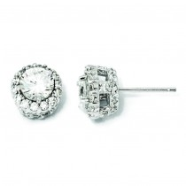 CZ Round Post Earrings in Sterling Silver