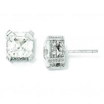 Asscher cut CZ Stud Earrings in Sterling Silver