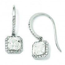 Square CZ Wire Earrings in Sterling Silver