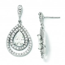 Pear CZ Dangle Post Earrings in Sterling Silver