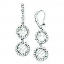 Checker cut CZ Stone French Wire Earrings in Sterling Silver