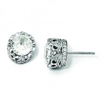 Facet CZ Round Post Earrings in Sterling Silver