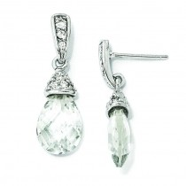 Teardrop CZ Dangle Post Earrings in Sterling Silver