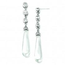 CZ Teardrop Dangle Post Earrings in Sterling Silver
