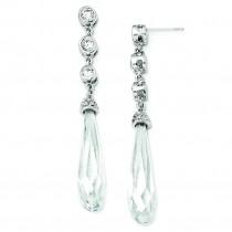 CZ Faceted Teardrop Dangle Post Earrings in Sterling Silver