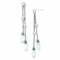 CZ Chain Dangle Post Earrings in Sterling Silver