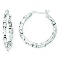 In Out CZ Post Hoop Earrings in Sterling Silver