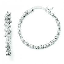 CZ Fancy Hoop Earrings in Sterling Silver